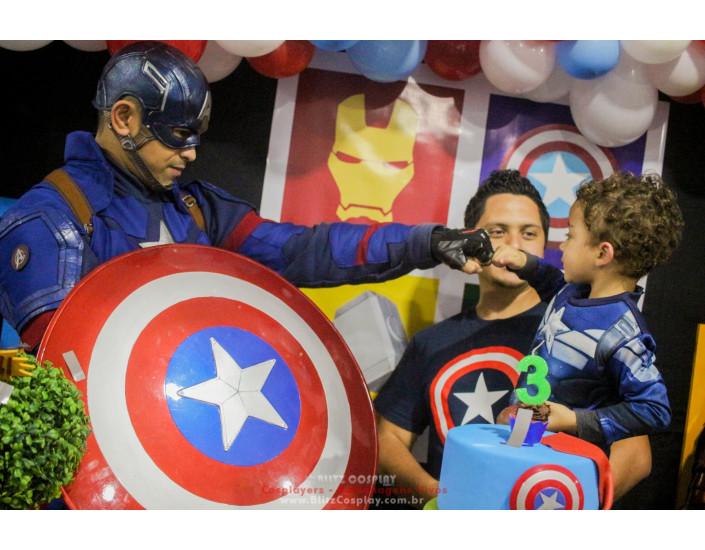 Personagem vivo Capitão America para festas