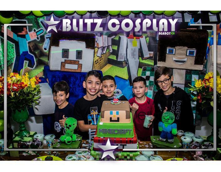 Minecraft Personagem Vivo Para Festas.
