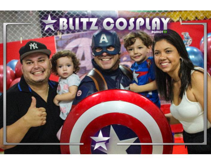 Capitão América Personagem Vivo Para Festas.