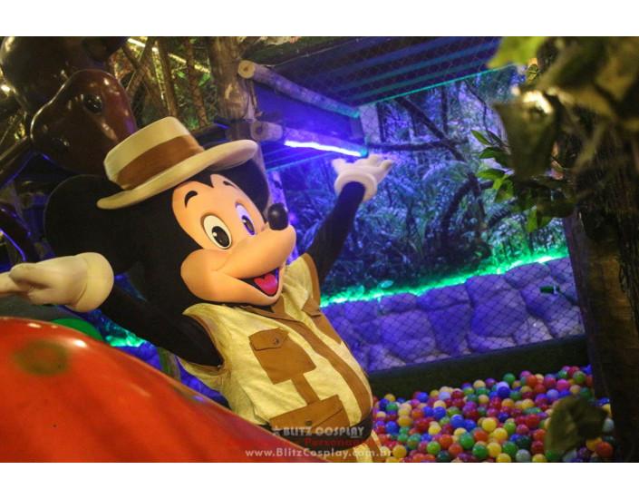 Mickey e Minnie Safari Personagens Vivos Para Festas.