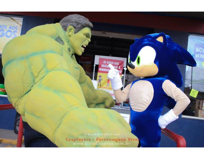 Hulk e Sonic Personagens Vivos Para Festas e Eventos.